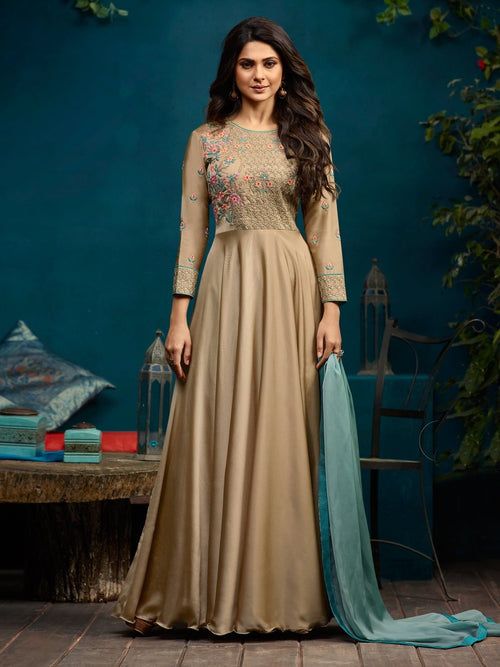 Gold  With Floral Minimalist Embroidered Anarkali