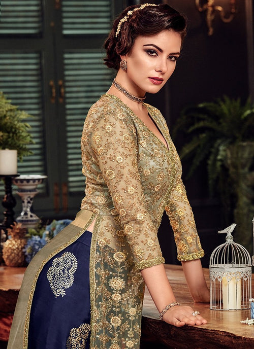 Golden And Blue Ethnic Embroidered Palazzo Suit