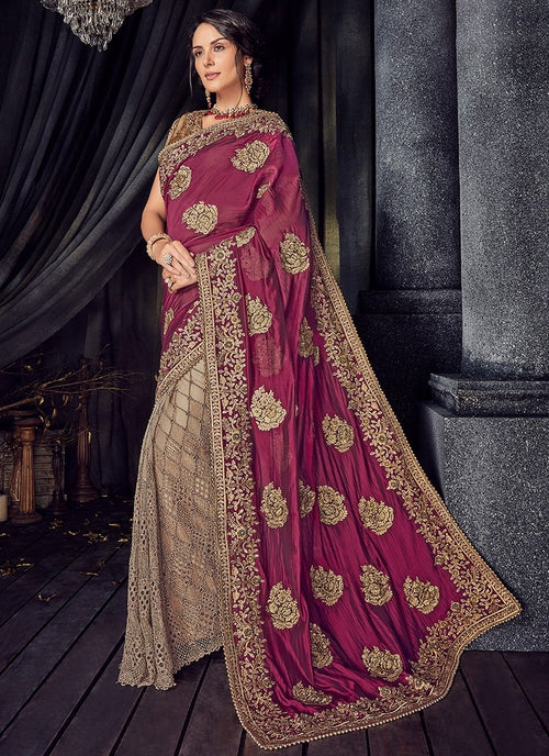 Golden And Plum Zari Embroidered Designer Saree
