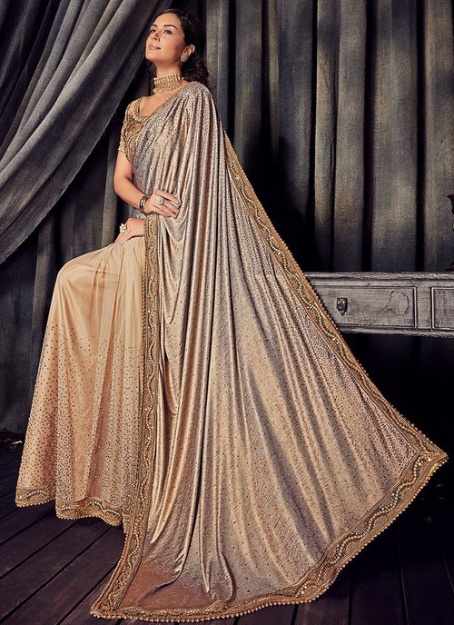 Golden Beige Overall Zari Embroidered Designer Saree