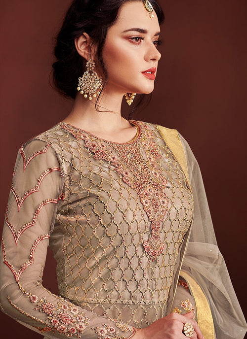 Golden Fully Embroidered Anarkali Lehenga Suit