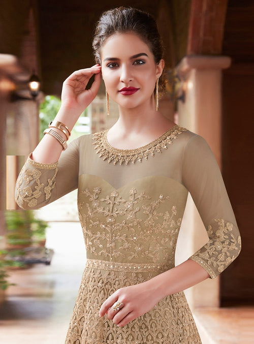 Golden Glamour Embroidered Flared Anarkali Suit