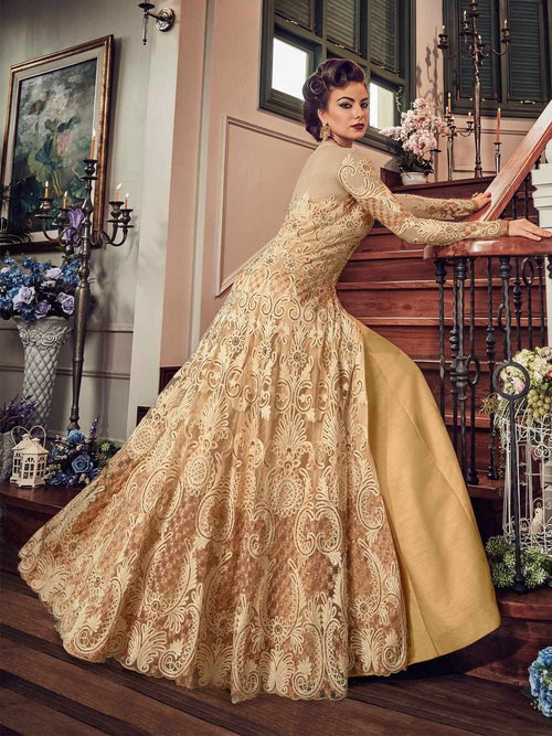 Golden Glam Detail Embroidered Flared Anarkali Lehenga/Pant Suit