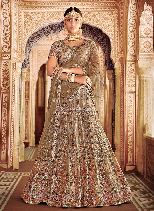 Golden Gleam Embroidered Kaliyaari Lehenga Choli Set