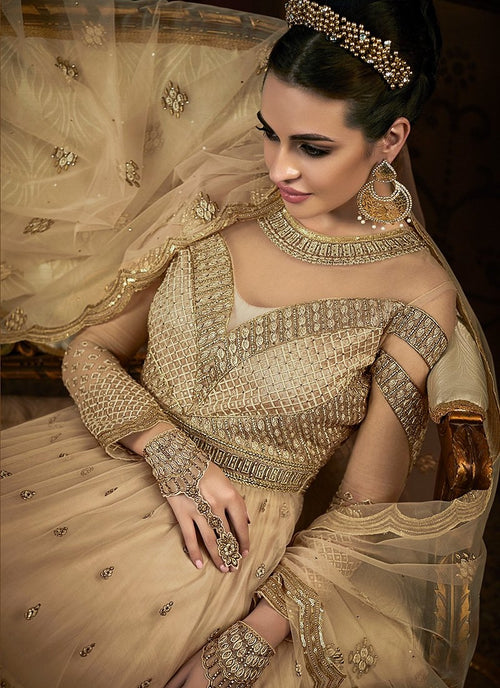 Golden Overall Embroidered Net Anarkali Suit