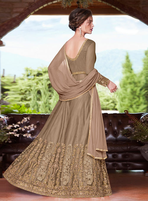 Golden Glamour Embroidered Slit Style Anarkali Suit