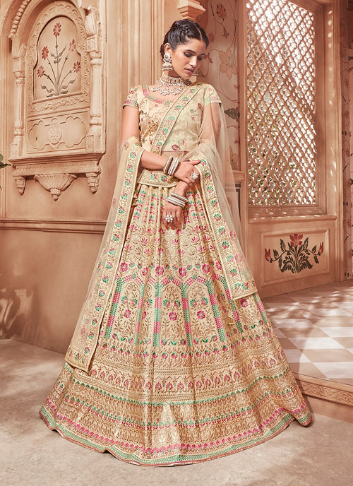 Golden With Multicoloured Traditional Lehenga Choli Set