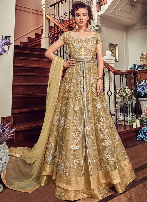 Golden Yellow Designer Embroidered Anarkali Lehenga/Pant Suit