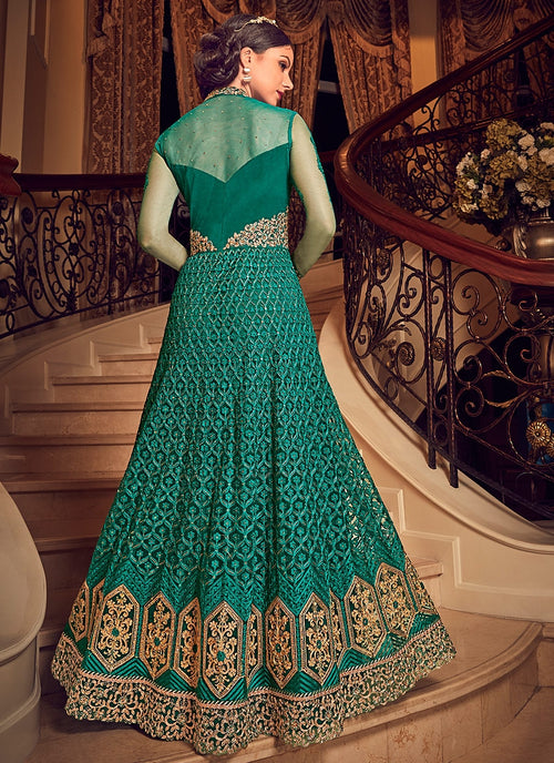 Green All Slit Style Embroidered Lehenga/Pant Suit
