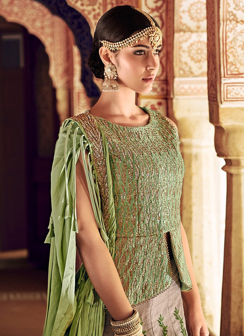 Green And Beige Embroidered Kaliyaari Lehenga Choli Set