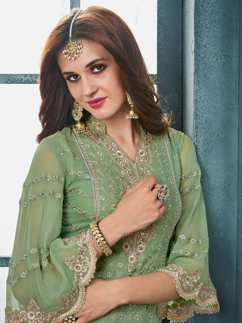 Green And Brown Embroidered Palazzo Suit