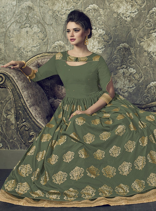 Green And Golden Embroidered Flared Anarkali Suit