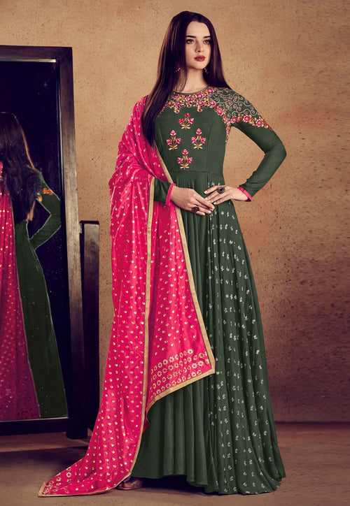 Green And Pink Embellished Anarkali Suit