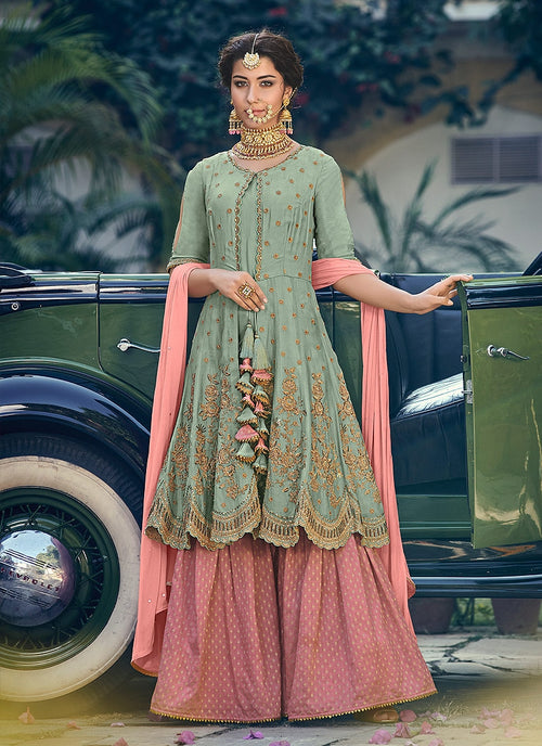 Green And Pink Embellished Gharara Suit