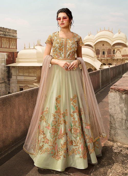 Green And Pink Overall Embellished Anarkali Suit