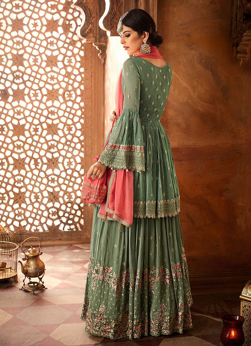Green And Pink Embroidered Peplum Style Gharara Suit