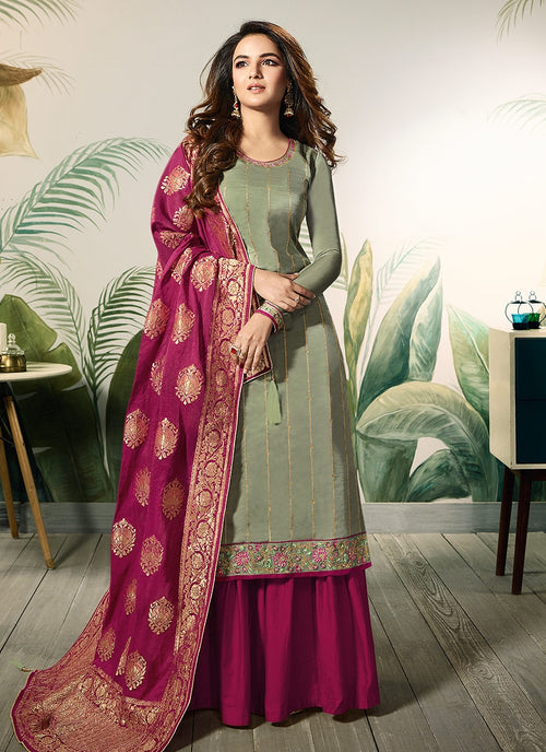Green And Pink Embellished Satin Palazzo Suit