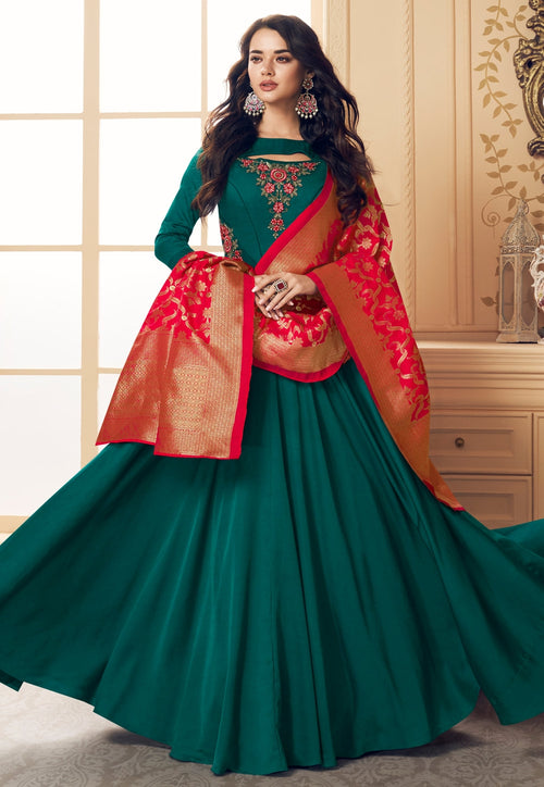 Green And Red Embroidered Satin Anarkali Suit