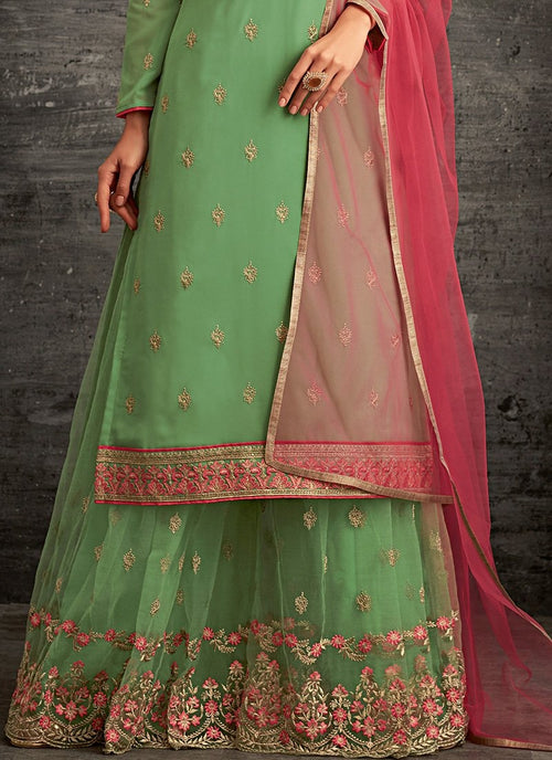 Green And Red Ethnic Embroidered Palazzo Suit