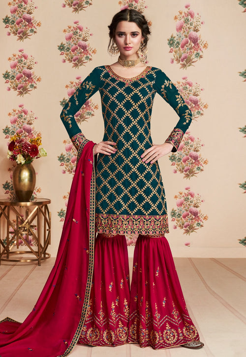 Green And Red Embroidered Gharara Palazzo Suit