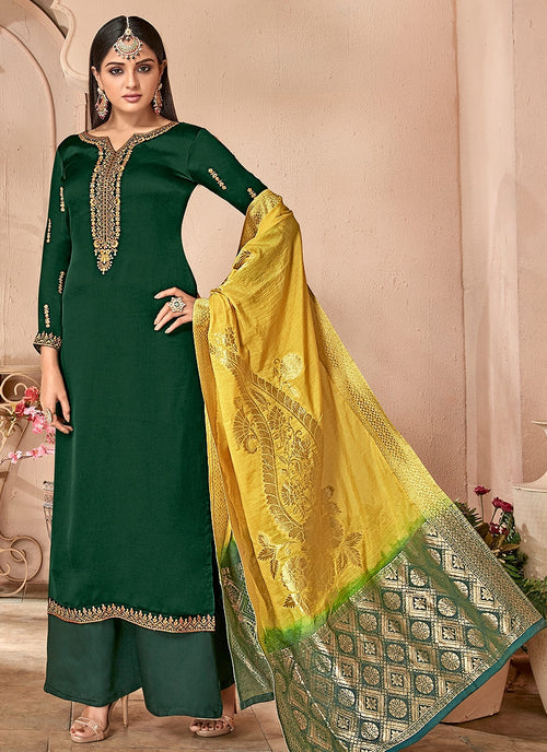 Green And Yellow Combination Embroidered Palazzo Suit
