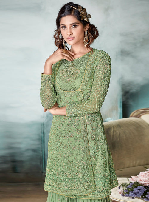Green Glamour Angrakha Style Embroidered Gharara Suit