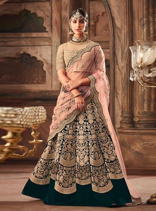 Green And Peach Embroidered Designer Lehenga Choli