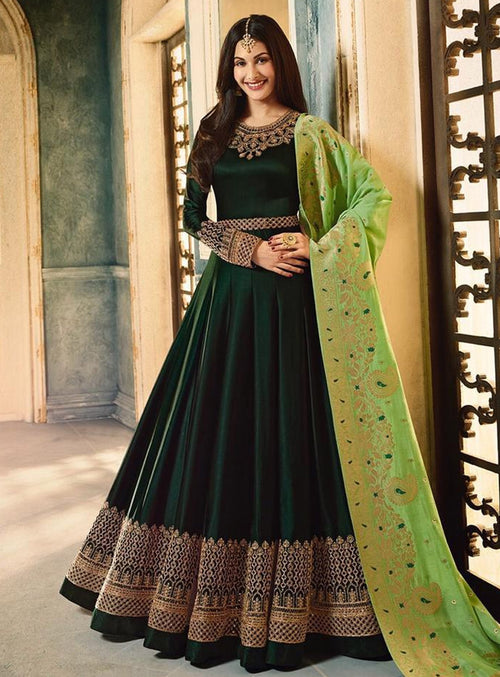 Green Dual Tone Motif Embroidered Ghera Anarkali Suit