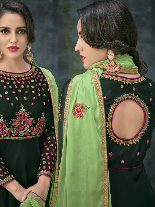 Green Dual Tone Ethnic Embroidered Anarkali Suit