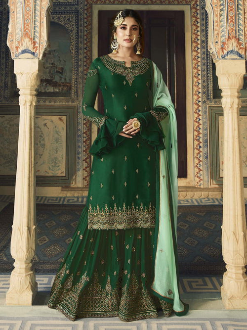 Green Dual Tone Ethnic Embroidered Sharara Suit