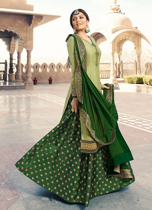 Green Dual Tone Embroidered Lehenga Kurti Set
