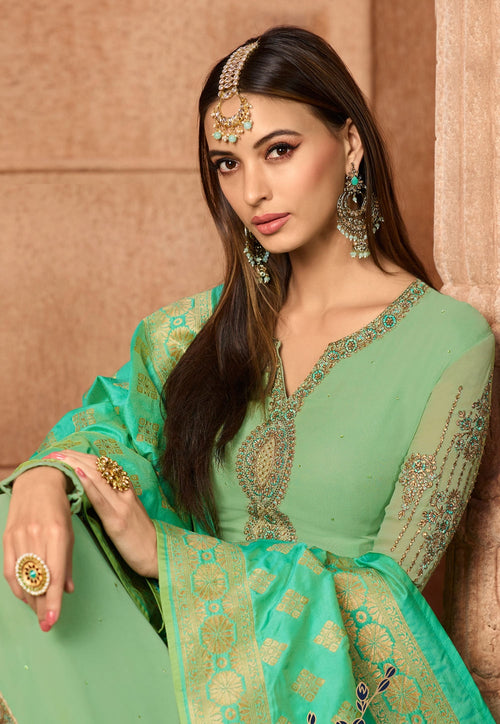 Green Dual Tone Embroidered Satin Churidar Suit
