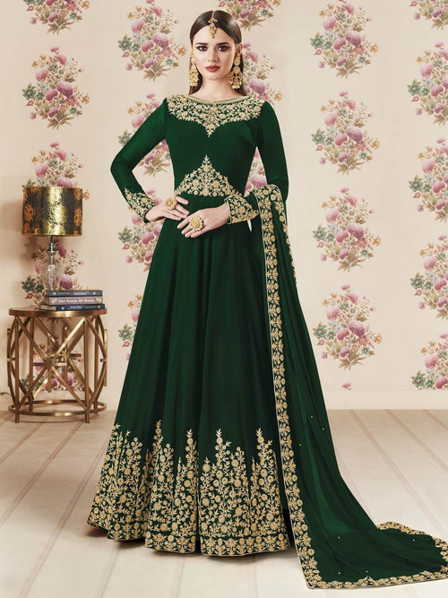 Green Embroidered Georgette Anarkali Suit