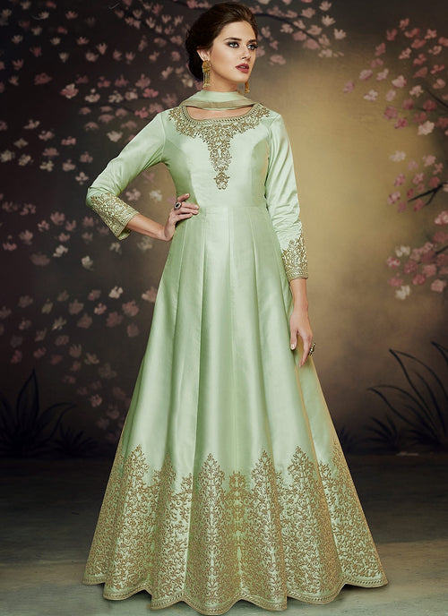 Green Glam Embroidered Floor Length Anarkali Suit