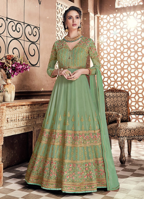 Green Glam Multi Embroidered Flared Anarkali Suit