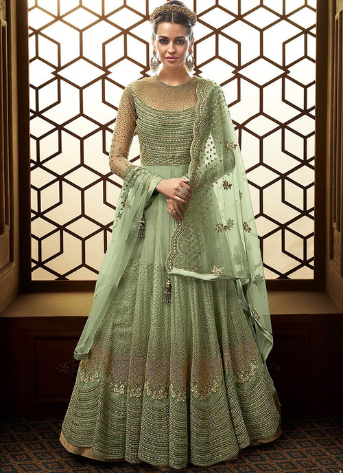 Green Golden Embroidered Net Anarkali Suit