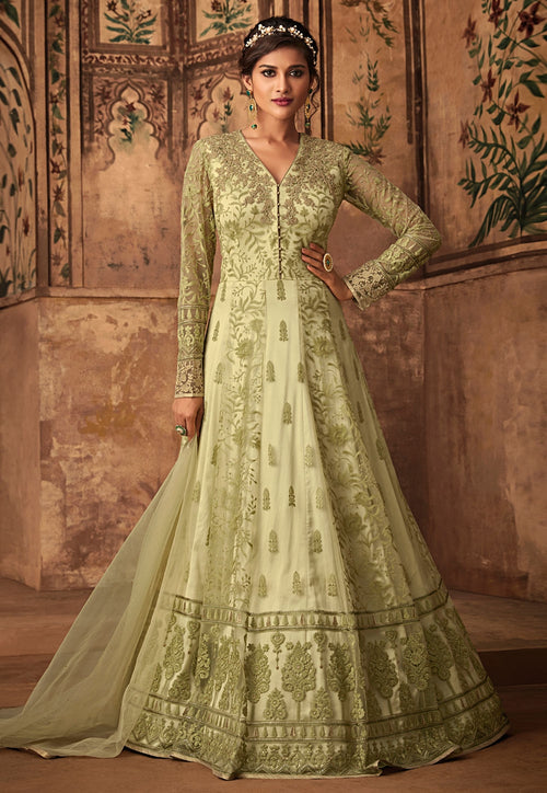 Green Golden Ethnic Embroidered Net Anarkali Suit