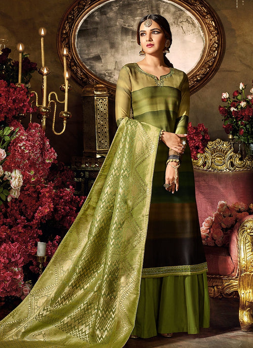 Green In All Shade Embellished Satin Palazzo Suit