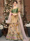Green Multicoloured Floral Embroidered Lehenga Choli Suit