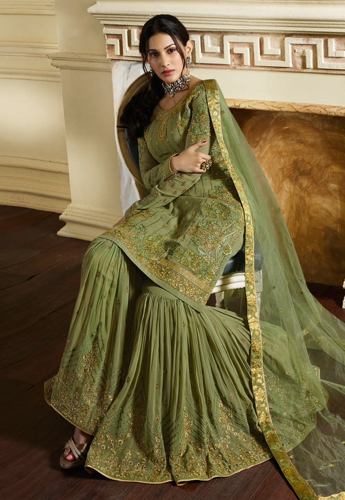Green Overall Traditional Embroidered Gharara Suit