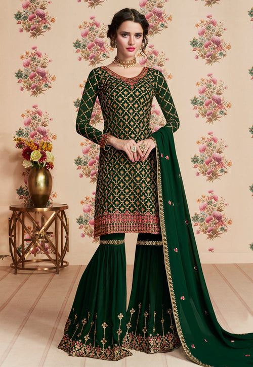 Green Overall Embroidered Gharara Palazzo Suit