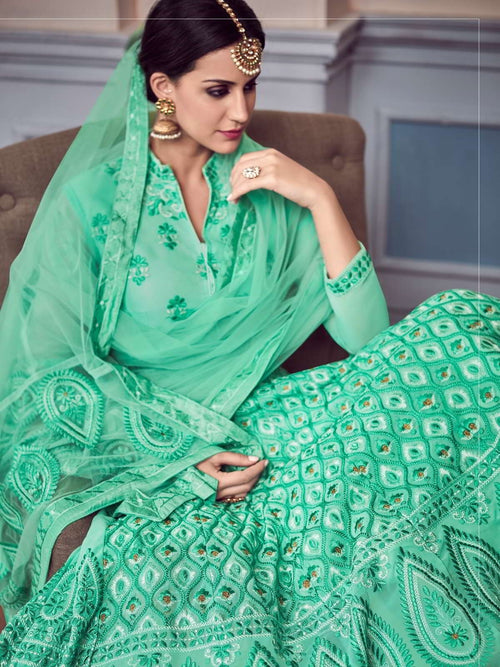 Green Glam Chikankari Embroidered Anarkali Suit