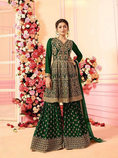 Green With Traditional Embroidered Detail Designer Kalidar And Palazzo Suit