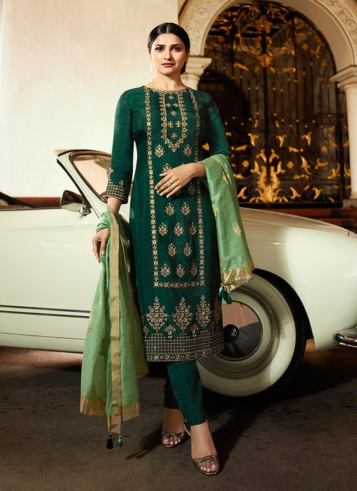 Green Traditional Embroidered Pakistani Pant Suit
