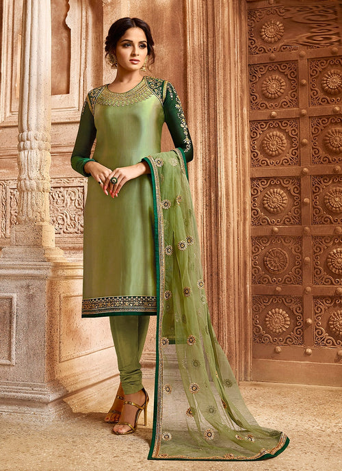 Green Two Tone Dual Bottom Lehenga/Pant Kurti Set