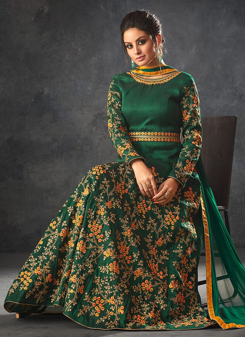 Green Glam With Floral Embroidered Flared Anarkali Suit
