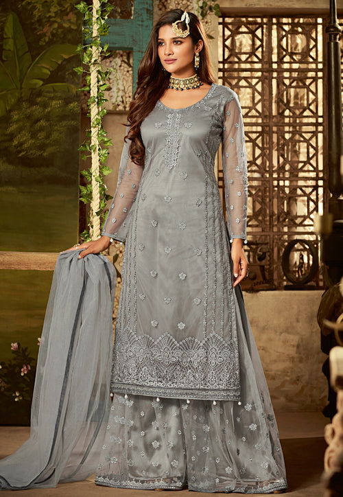 Grey All Over Embroidered Palazzo Suit