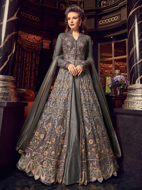 Grey All With Golden Embroidered Lehenga/Pant Suit