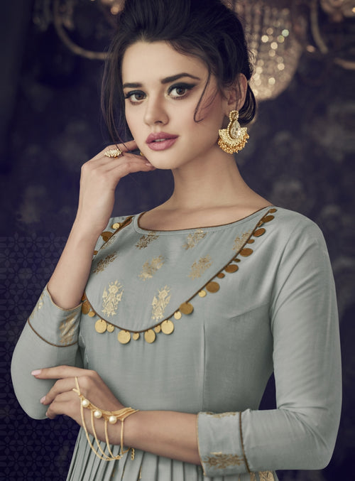 Grey And Golden Embroidered Flared Anarkali Suit