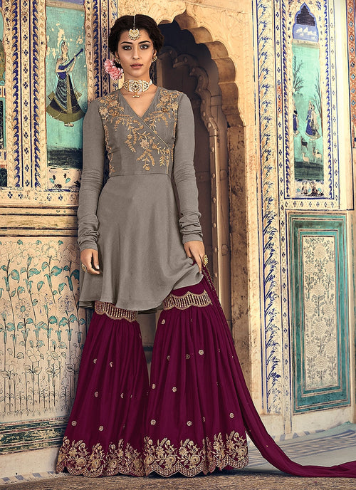 Grey And Maroon Embellished Gharara Suit